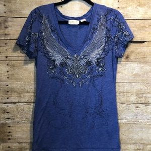 Miss Me tee with angel wings and rhinestone detail